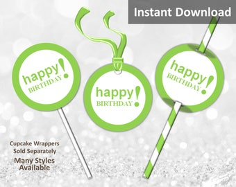 Lime Green Happy Birthday Cupcake Toppers, Favor Tags or Straw Flags, Instant Download, Party Decorations