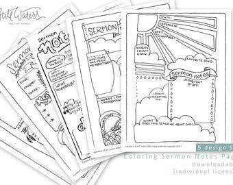 Sermon Notes Bulletin Inserts - 5 Original Designs [Individual License]