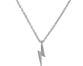 Lightning Bolt Plain Sterling Silver Necklace