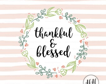 Thankful & Blessed Fabric - Floral Wreath Swatch - Tiny Craft Projects, DIY Gift Ideas, Small Sew, Quilt, Decor