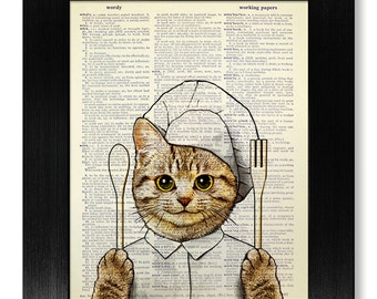 Kitchen Art Print, Cat KITCHEN Print, Cat Print, CAT PAINTING, Cooking Gift, Kitchen Poster, Restaurant Decor, Chef Art, Fork and Spoon Cat