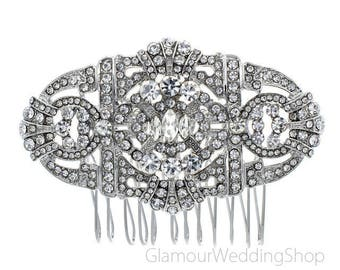 Sale - Crystal Silver Hair Comb Art Deco Bridal Hairpiece Old Hollywood Gatsby Wedding Accessories Rhinestone Hair Combs Headpiece Jewelry