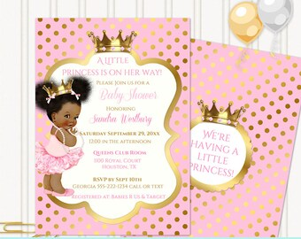 Little Royal Princess Ballerina Pink & Gold Crown Jewels   African American Vintage Baby Afro Puffs   Editable PDF Digital Instant Download