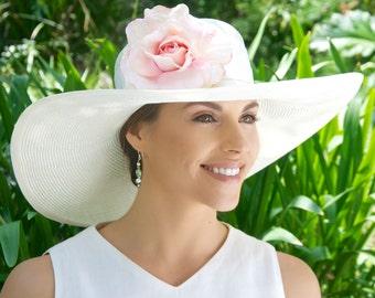 Wedding Hat, Derby Hat, White Ivory hat, Wide Brim Hat, Formal Hat, Ascot hat