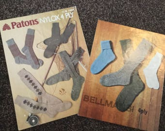 Vintage knitting patterns socks, mens socks, child sock pattern , ORIGINAL KNITTING PATTERN
