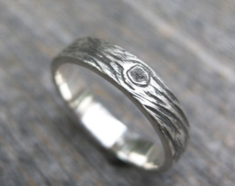 BARNWOOD 4mm cedar woodgrain ring faux bois sterling silver wedding band Made to Order