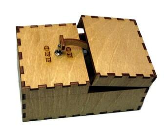 Useless Box Leave Me Alone Machine Turns Itself Off Fully Assembled Laser Cut Wood
