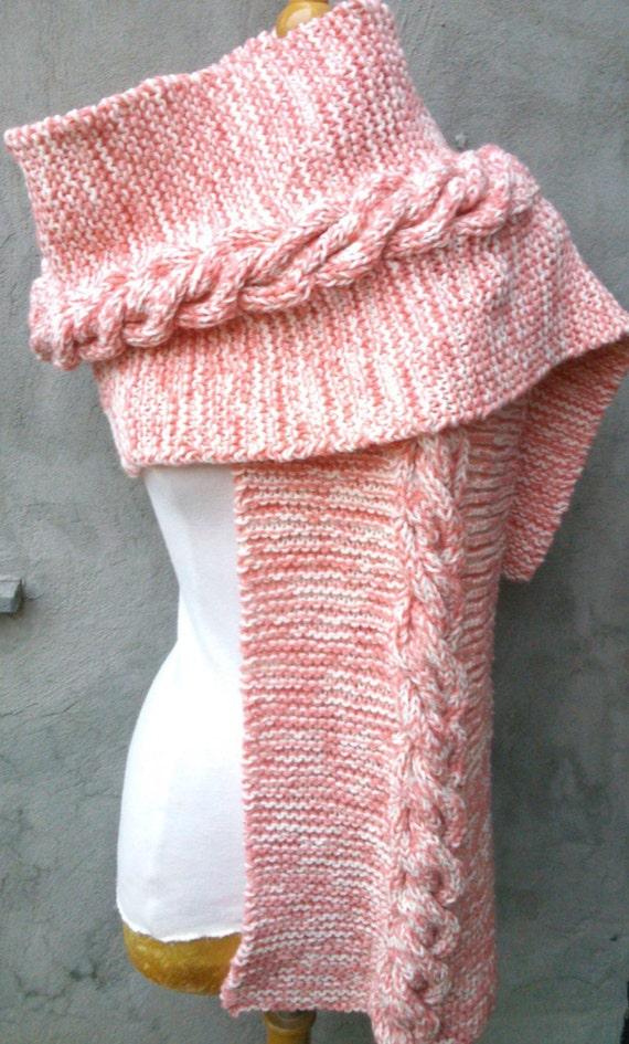 Knitting Pattern Long And Wide Scarf With Cable Intermediate