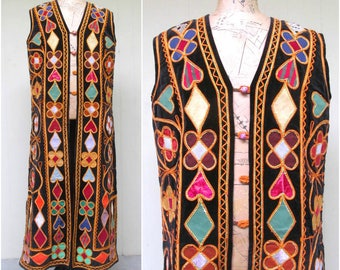 Vintage 1970s Ethnic Vest / 70s Boho Multi-Colored Patchwork Velvet Soutache Floor-Length Vest / Large