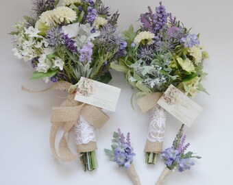 Wildflower Bouquet Package - Bridal Bouquet, Bridesmaid Bouquet, Boutonnieres, Wildflower, Purple, Rustic Wedding Bouquets, Boho Bouquet