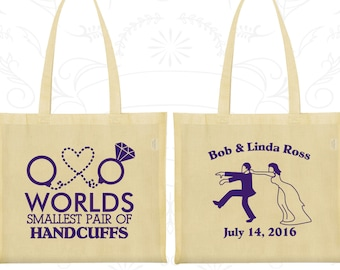 Worlds Smallest Pair of Handcuffs, Customized Party Bags, Rehearsal Dinner Bags, Wedding Rehearsal Bags, Tote Bags (453)