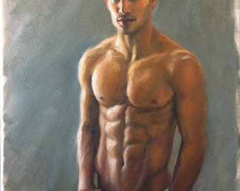 Male Figure, Handsome Man, Male Portrait, Original Oil Painting, Beautiful Body, Contemporary Realism, Fine Art, Oil on Canvas, Pat Kelley