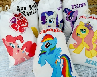 """My Little Pony Birthday Party Favor bags Cartoon Characters Great for gifts or treats Can be Personalized 5"""" X 7"""" or 6"""" X 8"""" Qty 6"""