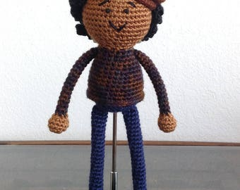 READY TO SHIP - Crochet African American Boy Doll, with short curls, natural black hair, newsboy cap, Baby Gift Christmas