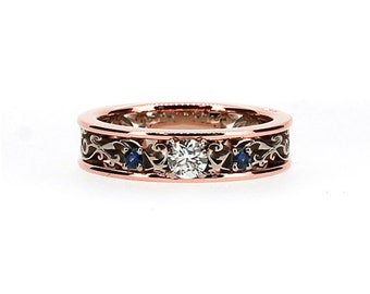 Royal filigree ring with 0.25ct Diamond and Blue sapphire, diamond, white gold, filigree wedding, blue sapphire ring, rose gold, two tone