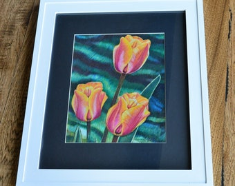 ORIGINAL Floral, Color Pencil Drawing, Floral Drawing, Spring Flowers, ORIGINAL Art, Framed Floral, Pink Tulips, Floral painting, Flowers