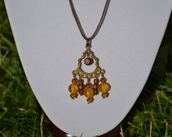 Brown and amber pendant