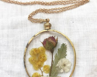 Real Pressed Rose and Acacia Flower Necklace with Hand Stamped Verse ~ Christian Jewelry