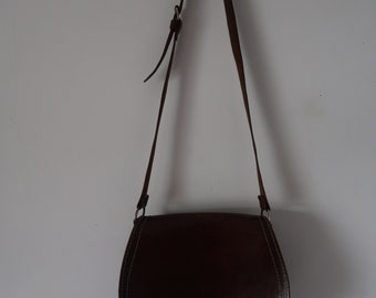 Vintage Tan Leather Saddle Bag
