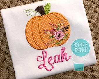 Pumpkin Applique Shirt / Floral Pumpkin / Personalized Pumpkin Shirt / Girls Thanksgiving Shirt / Thanksgiving Outfit / Girl Pumpkin
