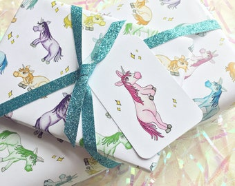 Magical Unicorn Gift wrap sheet set with tag