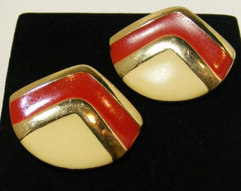 Vintage SIGNED Mimi di N Red and Cream Enamel Clips Earrings