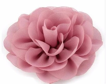 3x Rose Mauve Dark Pink Rose Flower Baby Girl Hair Clips