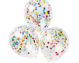 Set of 10 Multicolored Confetti Balloons 12 inch