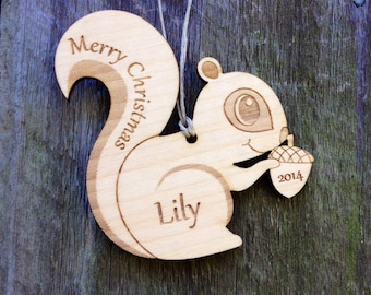 Personalized Christmas Ornament: Woodland Squirrel with Acorn/Ornament for Kids/Woodland Shower Favor/Engraved/Personalized Christmas Gifts