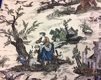 Fabric Old English Countryside scenes on Ecru  Upholstery Fabric by the Half Yard
