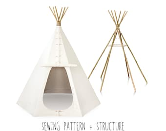 Teepee Pattern pdf + Ready-Made Structure. Sizes SMALL, MEDIUM or LARGE. How to Make a Real Indian Tepee, Tent Cover diy, Ebook, Tutorial