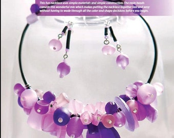 Tutorial Romantic Memory Necklace and Earrings, Resin Bead Mix, Memory Wire, Rubber Cord
