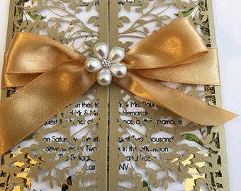 Wedding Leaves gold invitation