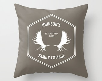 Family Pillow, custom pillow, moose antlers pillow, family name pillow, family house pillow custom rustic pillow, personalized pillow