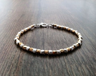 Gold and silver nugget bracelet. Faceted bracelet silver plated nuggets. Bridesmaid gift