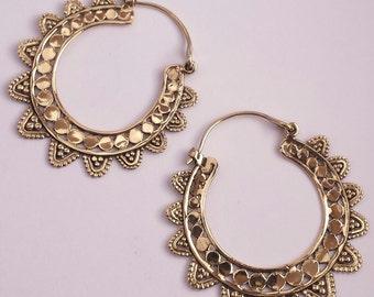 Brass Tribal Fancy Flower Hoop Earrings - Boho, Ethnic, Gypsy, Funky EB16