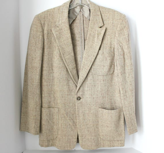 Vintage 60s Beige Fleck Jacket, Rockabilly Tan 3 Pocket Mens Sport Jacket