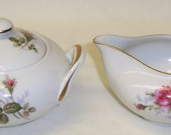 Sango China Japan MOSS ROSE Creamer, Sugar Bowl with Lid