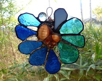 Shelter Cove - Beautiful Large Stained Glass Suncatcher with Seashell