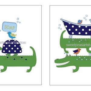 Awesome Alligator Art For Kids Bathroom Decor, Alligator Print, Toothbrush Brush  Art, Wash Art