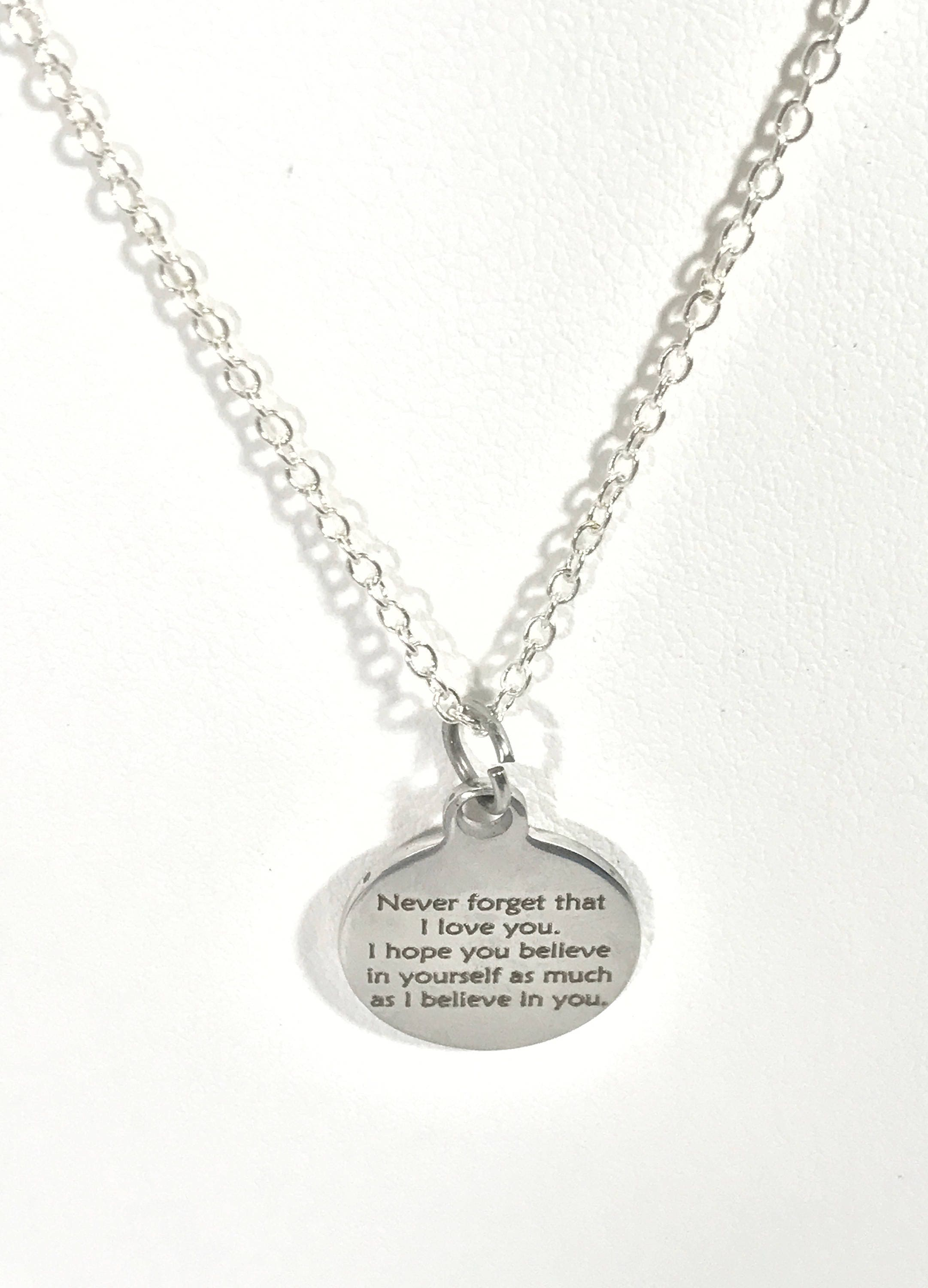 Believe in yourself necklace never forget that i love you necklace believe in yourself necklace never forget that i love you necklace i believe in you necklace encouraging daughter jewelry wife jewelry solutioingenieria Image collections