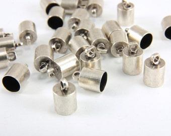 20pcs Silver End Caps, 6mm Hole Leather End Caps, Cord End Caps, Bracelet End Caps, Silver Plated Bead Caps, Silver Brass End Caps