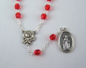 Saint Dymphna Chaplet with Your Choice Color Beads