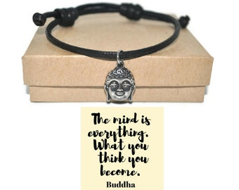 stainless steel Buddha cotton cord bracelet and quote note card