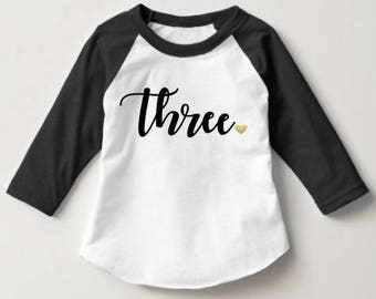 Three - Girls Third Birthday Shirt - girls raglan heart baseball style gold glitter & black - Toddler Top