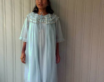 1960s BABY BLUE PEIGNOIR Double Layer Chiffon Robe and Nightie with Crystal Pleated Ruffled Neckline and Cuffs
