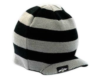Black and Gray Striped Beanie 4T-7T