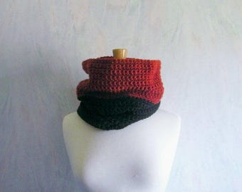 Red & Black Cowl Scarf, Scarves for Women, Cowl Neck Sweater, Loop Scarf, Circle Scarf, Scarves for Men, Cowl Neck Scarf, Gift Ideas