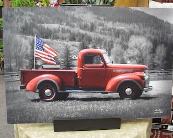 Vintage Pickup,Patriotic,American Flag,Patriotic Pickup,Lori Dieter,18x12,Wooden Art Plaque