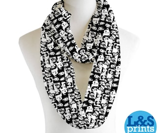 Elvis Presley Black & White Infinity Scarf Jersey or Chiffon Fabric Unisex Fashion Loop Scarf